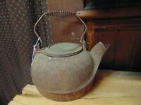 Antique Cast Iron Tea Kettle - Made in USA -  Solid, no Cracks, project, rusty