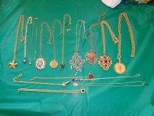 Lot of 15PC Pendant Necklaces Rhinestone Enamel and More Many Styles