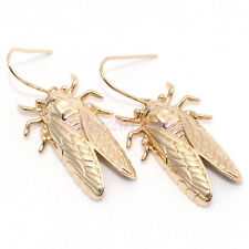 Hot Cicada Insect Design Carved Gold Hook Jewelry Dangle Earrings