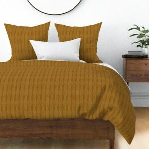 Geo Geometric Dot Dotted Triangle Diamond Ochre Sateen Duvet Cover by Roostery