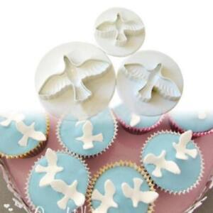 3 pcs DIY Cake Cookie Molds Dove PIgeon Bird Mould Cutter Fondant Plunger FW