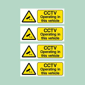 4x CCTV OPERATING VEHICLE 100x35mm Stickers - Car, Van, Taxi, Uber