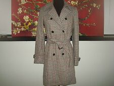 NWT J. Crew Icon trench coat plaid Italian wool Burgunday Tan Houndtooth F6027 2