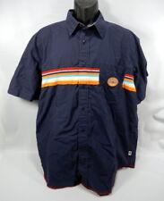 Mens Large Blue Tommy Jeans Short Sleeve Button Up Shirt Orange Patch Stripe