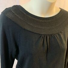 Black Apostrophe Sweater Semi Circle Top Pullover 3/4 Sleeve Size Small