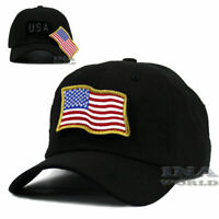 USA American Flag Hat Detachable Patch Tactical Military Baseball cap- Black