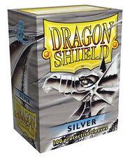 100 PROTECTIVE SLEEVES Silver Argento MTG MAGIC Dragon Shield