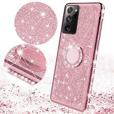 For Samsung Galaxy Note 20 S20 Plus S10e S9 Bling Glitter Ring Holder Phone Case