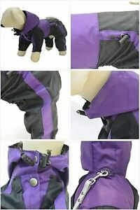 Lovelonglong Dog Hooded Raincoat, Small Dog Rain Jacket Poncho  Purple XS