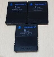 3 x PS2 Black 8mb Memory card Official Genuine Sony Playstation 2 Cleaned tested