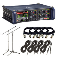 Zoom F8n Multi-Track Field Recorder   Tripod Mic Stand   (4) XLR to XLR Cable...