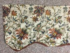 Waverly Valance Traditional Jacobean Floral tan burgundy green gold Scallop