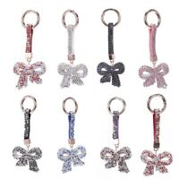 1 Pcs Rhinestone Bow Jewelry Keychain Women Key Holder Chain Ring Car Bag P P4K9