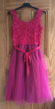 Ladies Pink Mesh Flower Floral Tie Back Prom Wedding Dress Size 8 - 20
