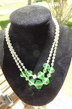 Vintage Clear & Green Cut Crystal Necklace, Beautiful!