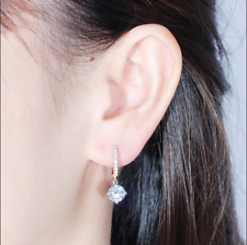 4 Ct Round Attractive Cut Moissanite Drop & Dangle Earrings 14K Rose Gold Finish
