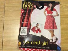 Rubies 50s Nerd Girl, Red/White, Size Large Dress and Belt Costume Halloween