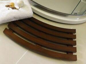 Curved Shaped Solid Beech Wooden Duck Board Bathroom Shower Mat - Walnut Finish