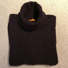 Hugo Boss Ladies Cable-Knit Polo-Neck Sweater in Aubergine, size Small