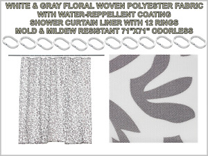 """White & Gray Floral Shower Curtain with 12 Rings Mold Mildew Resistant 71""""x71"""""""