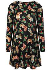 New Ladies Womens Kids Long Sleeve Girls Xmas Christmas Flared Party Swing Dress