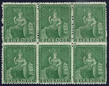 BARBADOS 1861-70 BRITANNIA ½D GREEN BLOCK OF SIX FRESH & FINE MINT. GIBBONS 21.
