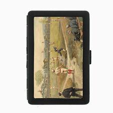 Vintage Baseball D7 Black Cigarette Case / Metal Wallet Card Money Holder