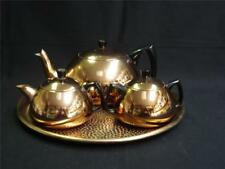 RETRO VINTAGE ANODISED ALUMINIUM ROSE GOLD TEASET WITH TRAY GLAMO-WARE
