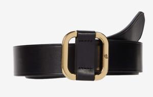 "Ralph Lauren Womens Square Gold Buckle Slide Smooth Black Leather Belt Large 37"""