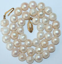 Vintage BIG 10mm BAROQUE CULTURED PEARL SILVER GOLD PL CLASP KNOTTED NECKLACE