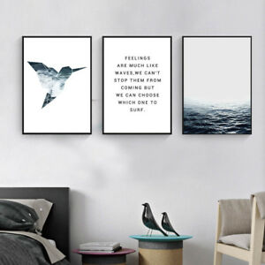 Ocean Sea Landscape Wall Art Canvas Poster Quote Prints Modern Home Decoration