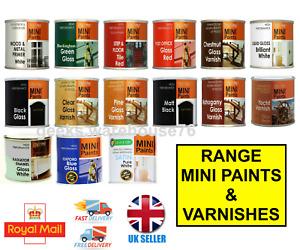 Mini Paints & Brushes Varnish Gloss Primer Exterior Interior Wall Tile Wood Tins