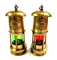 Set of 2 Brass Minor Oil Lamp Antique Nautical Ship Lantern Maritime Boat Light