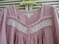 NEW EILEEN WEST LONG NIGHTGOWN 3/4 SLEEVE COTTON RAYON BLEND FLANNEL STRIPED XL