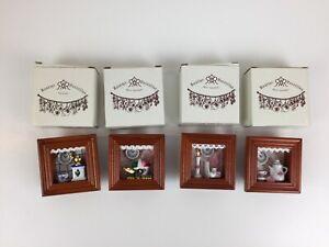 4 Vintage Reutter Porzellan Miniature Dollhouse Hanging Shadow Box West Germany