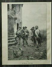 HO4) Holzstich 1885-1900 G Simoni Roma - Die Rast  Bauern Tracht Tirol ? Italien