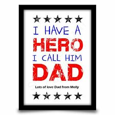 Fathers Day Birthday gift for Dad Personalised from Son Daughter A4 gloss print