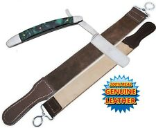 NEW Shaving Straight Razor & Leather Sharpening Strop Green Pearl Handle Razors