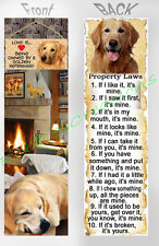 GOLDEN RETRIEVER Large BOOKMARK Dog RULES Property Laws Book Mark Figurine CARD
