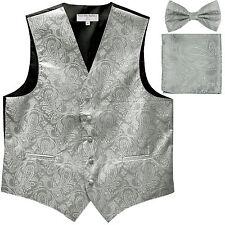 Men's paisley Tuxedo VEST Waistcoat & BOWTIE and HANKIE set wedding prom Silver