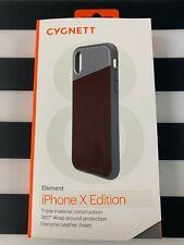 CYGNETT ELEMENT iPHONE X Case - Genuine Brown Leather & Aluminum  *N*E*W*