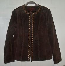 HAL RUBENSTEIN SIZE M WHIP STITCH BROWN LEATHER JACKET W/ CHAIN DETAIL CHEST 38""