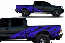 Custom Vinyl Decal SHRED Wrap for 4D Long Bed Toyota Tacoma Parts TRD 05-15 Blue
