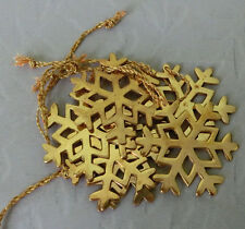 "6 Vintage Metal Gold Snowflakes Christmas Ornament Tree Decoration 2 ¼"""