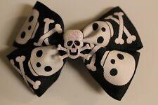 """3"""" Girls Handmade Skull White&Black Ribbon Bow Barrette (2 1/4""""Barrette clip)"""
