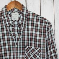 BILLY REID Standard Cut Men's Button Front Shirt Gray w/ Red Plaid Size Small