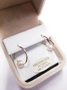 14K Yellow Gold 6-6.5MM Freshwater Cultured Pearl 18MM Hoop Earrings