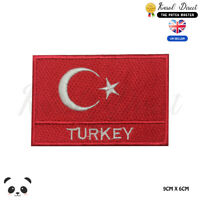 Turkey National Flag With Name Embroidered Iron On Sew On Patch Badge