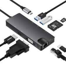 USB C Hub 8 in 1 Adapter zu HDMI VGA USB 3.0 Kartenleser RJ45 Ethernet Splitter