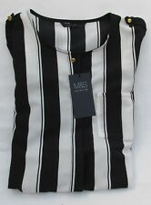 Ladies Marks and Spencer Black and White Striped Long Blouse Size 18